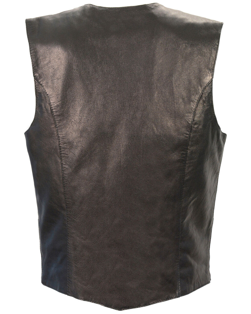 Milwaukee Leather Women's Lightweight Classic Four Snap Vest - 3X, Black, hi-res