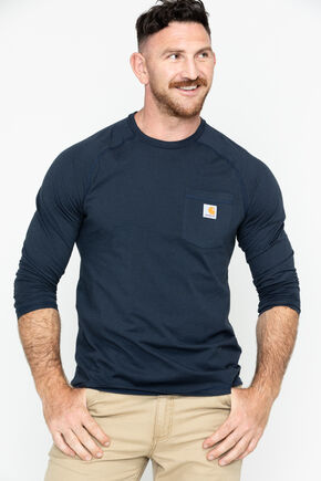 Carhartt Force Long Sleeve Work Shirt, Navy, hi-res