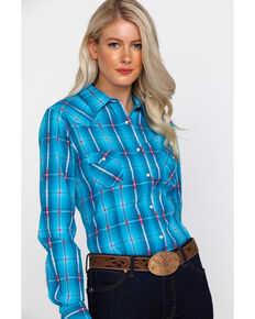 ef47a40356a990 White Label by Panhandle Womens Plaid Long Sleeve Western Shirt , Blue,  hi-res