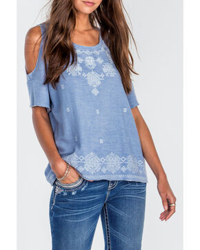 Miss Me Women's Blue Embroidered Open Shoulder Shirt , Blue, hi-res