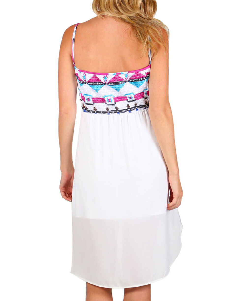 Rock & Roll Cowgirl Women's Aztec Spaghetti Strap Dress, White, hi-res