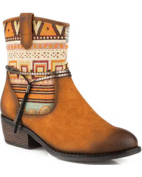 Roper Women's Tan Rios Tribal Pattern Western Boots - Round Toe, , hi-res
