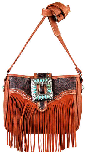 Montana West Trinity Ranch Belt Buckle Messenger Bag with Fringe, Brown, hi-res