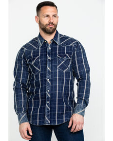 Rock & Roll Denim Men's Crinkle Plaid Long Sleeve Western Shirt , Blue, hi-res