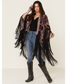 Idyllwind Women's X Long Fringe Shawl, Purple, hi-res