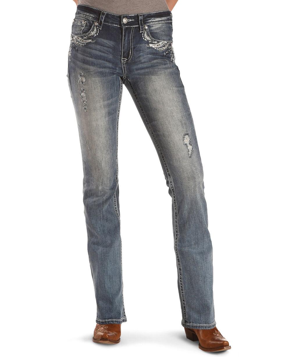 Grace in LA Women's Feather Pocket Easy Fit Boot Cut Jeans, Blue, hi-res