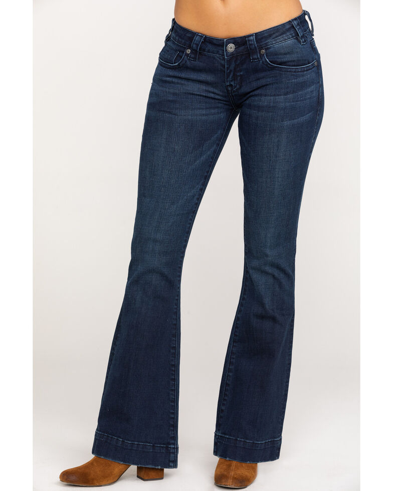 Rock & Roll Cowgirl Women's Dark Wash Low Rise Trouser, Blue, hi-res