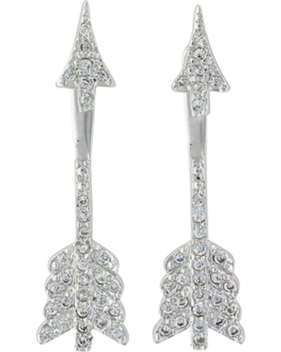 Montana Silversmiths Women's Pierced Arrow Earrings , Silver, hi-res