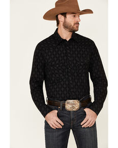 Rock & Roll Denim Men's Black Medallion Print Long Sleeve Western Shirt , Black, hi-res
