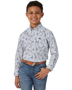 Wrangler Boys' Classic White Paisley Print Long Sleeve Western Shirt , White, hi-res