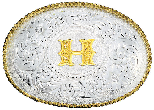 Montana Silversmiths Engraved Initial H Western Belt Buckle, Multi, hi-res