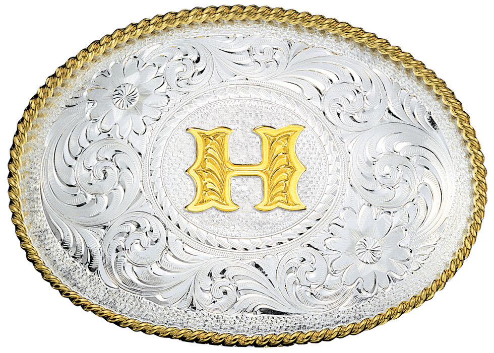Montana Silversmiths Engraved Initial H Western Belt Buckle, Multi, hi-res