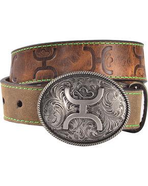 Hooey Boys' Brown Distressed Leather Belt , Brown, hi-res