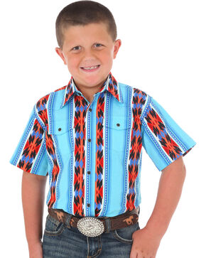 Wrangler Boys Aztec Striped Short Sleeve Snap Shirt, Blue, hi-res