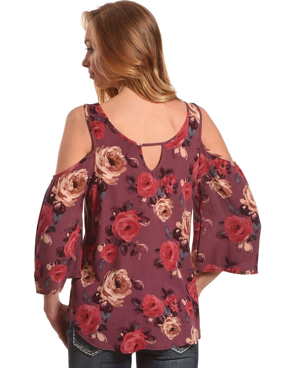 Lunachix Women's Rose Printed Cold Shoulder Top, Mauve, hi-res