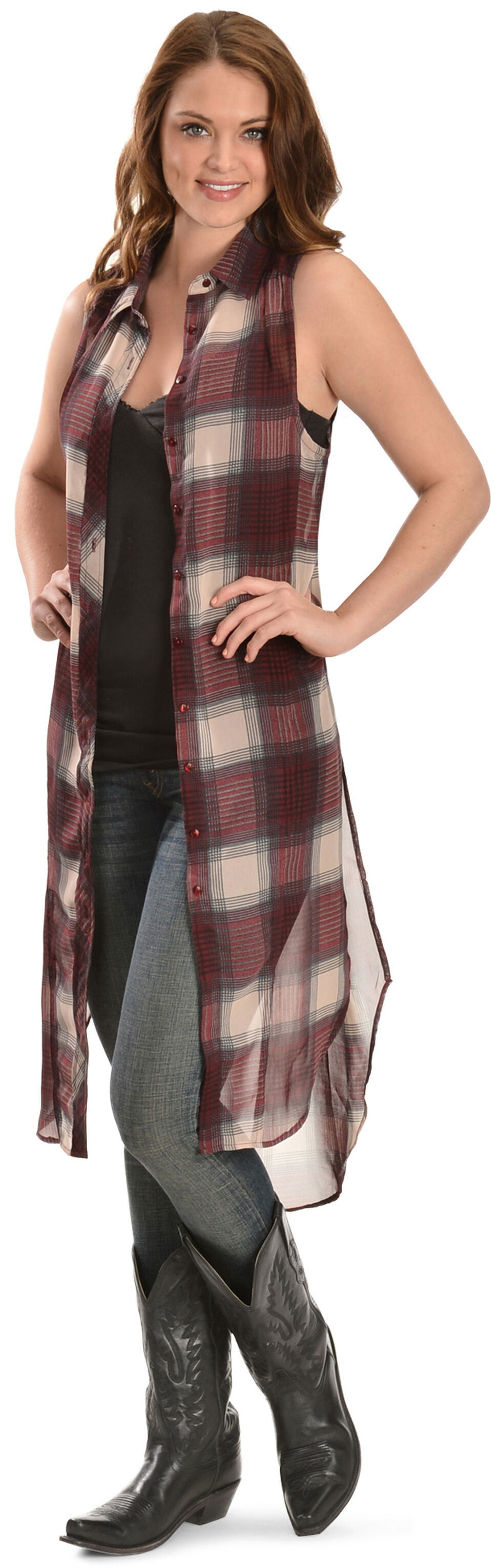 Truly 4 You Long Plaid Sleeveless Top, , hi-res