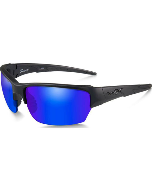 Wiley X Saint Polarized Blue Mirror Matte Black Sunglasses, Black, hi-res
