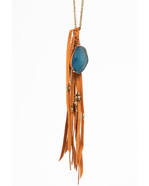 Shyanne Women's Long Tassel Necklace with Blue Agate Pendant, Gold, hi-res