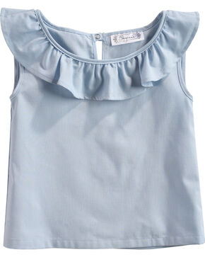 Shyanne Toddler Girls' Ruffle Neckline Sleeveless Top, Blue, hi-res