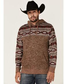 HOOey Men's Brown Aztec Color-Block Pullover Hooded Sweatshirt  , Brown, hi-res