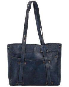 STS Ranchwear Women's Denim Leather Tote Bag, Blue, hi-res