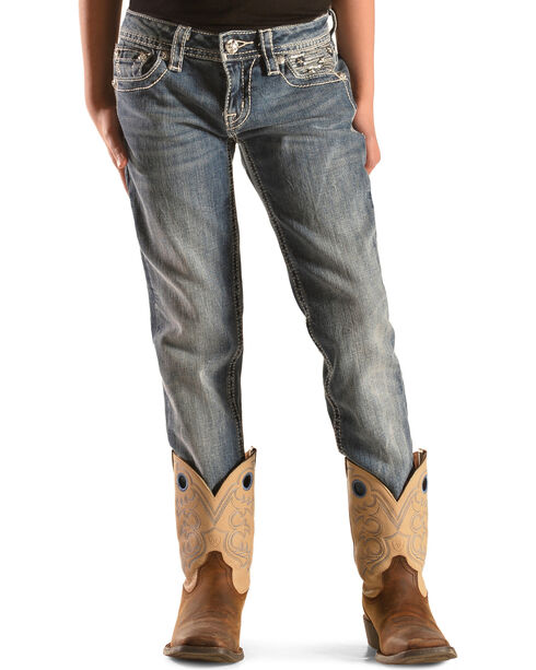 Miss Me Girls' Stars & Stripes Skinny Jeans, Denim, hi-res