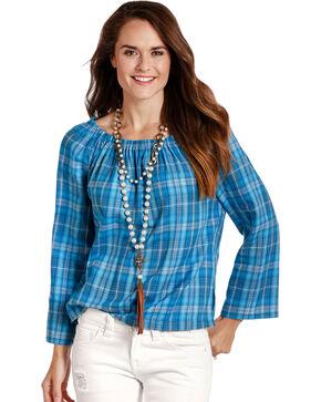 Panhandle Women's Blue Plaid Peasant Top , Blue, hi-res