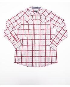 Cody James Boys' Far Country Plaid Long Sleeve Western Shirt , Maroon, hi-res
