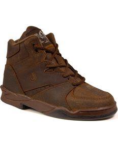 Roper Men's Chipmunk HorseShoes Classic Original Boots - Wide Width, Tan, hi-res