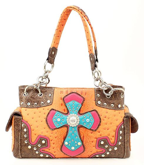 Blazin Roxx Ostrich Print Studded Satchel Bag, Orange, hi-res