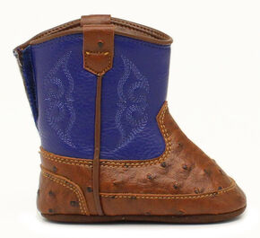 Double Barrel Infant Boys' Weston Faux Ostrich Cowboy Booties - Round Toe, Blue, hi-res