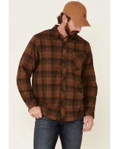 North River Men's Brown Barn Plaid Long Sleeve Western Flannel Shirt , Lt Brown, hi-res