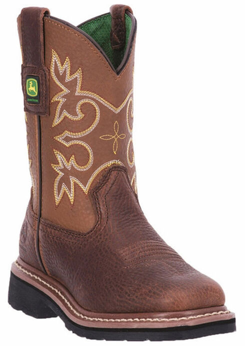 John Deere Youth Boys' Johnny Popper Mesquite Western Boots - Square Toe, Mesquite, hi-res