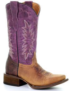 Corral Girls' Purple Embroidery Western Boots - Square Toe, Brown, hi-res