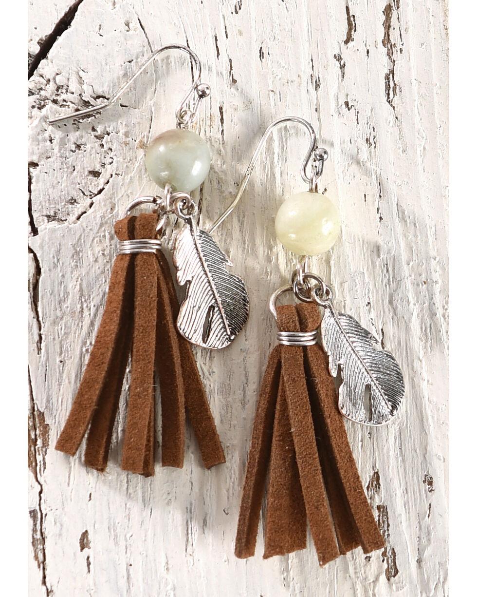 Shyanne Women's Leather Tassel Feather Earrings, Brown, hi-res