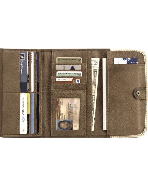 American West Women's Brown Native Sun Tri-Fold Wallet , Brown, hi-res