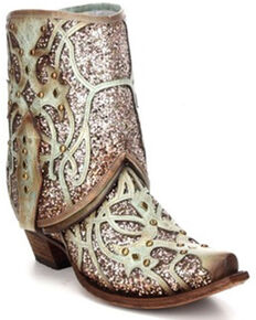 Corral Women's Flipped Shaft & Glitter Inlay Fashion Booties - Snip Toe, Light Green, hi-res