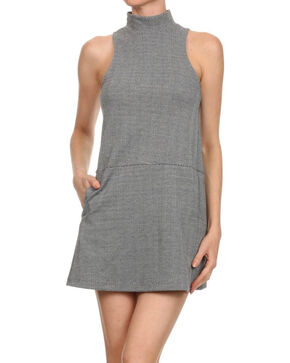 Freeway Apparel Women's Sleeveless Herringbone Dress, Grey, hi-res