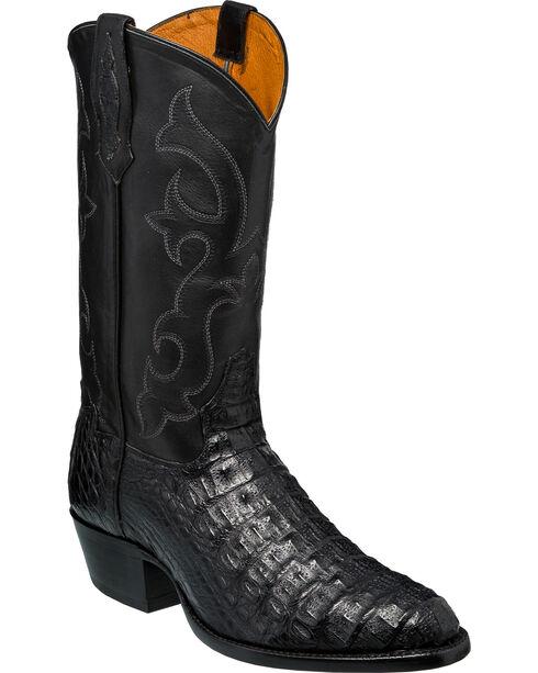 Tony Lama Men's Black Hornback Caiman Cowboy Boots - Round Toe, Black, hi-res