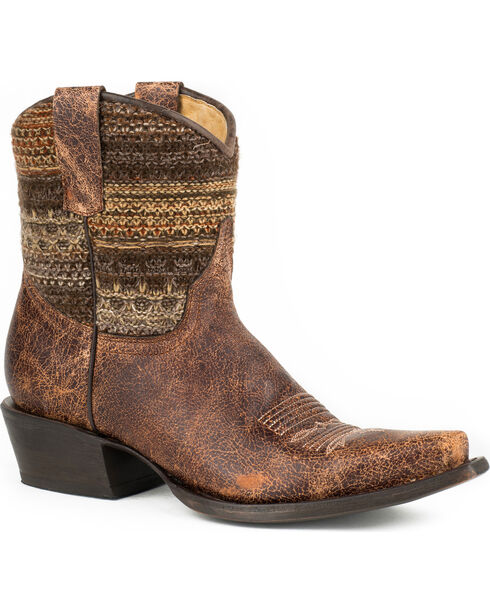 Roper Brown Vintage Distressed Sweater Short Cowgirl Boots - Snip Toe, Brown, hi-res