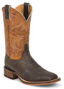 Justin Men's Bent Rail Cowboy Boots - Square Toe, Dark Brown, hi-res