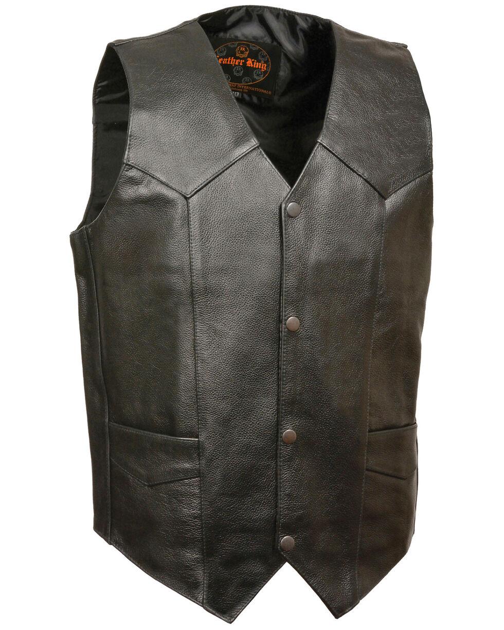 Milwaukee Leather Men's Black Snap Front Biker Vest , Black, hi-res