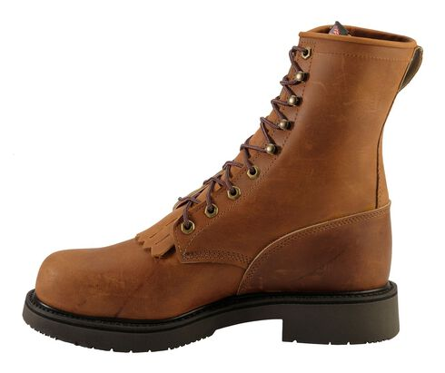 "Justin Double Comfort 8"" Lace-Up Work Boots - Steel Toe, Bark, hi-res"