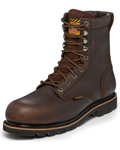 "Justin Men's Brown Miner Bark Insulated 8"" Work Boots - Composite Toe , Brown, hi-res"