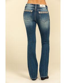 "Miss Me Women's Floral Glitz Top Border 32"" Chloe Bootcut Jeans, Blue, hi-res"