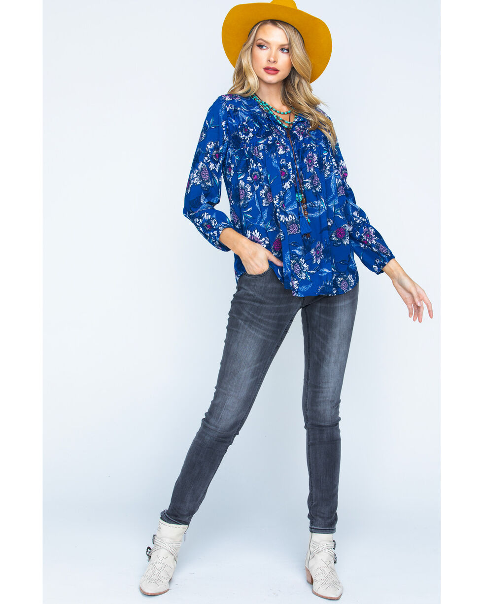 New Direction Sport Women's Blue Paisley Print Top , , hi-res