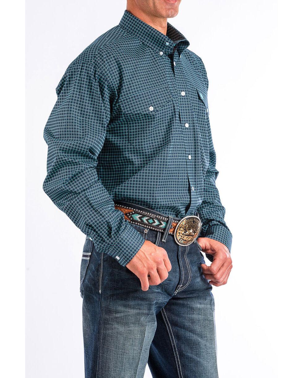 Cinch Men's Navy Geo Printed Long Sleeve Shirt, Navy, hi-res