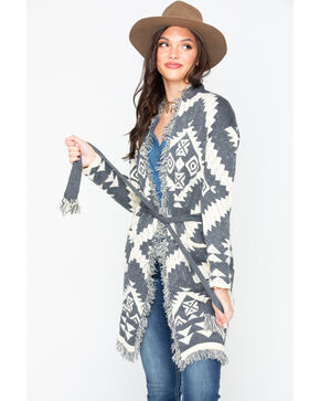 Miss Me Women's Aztec Fringe Cardigan, Charcoal, hi-res