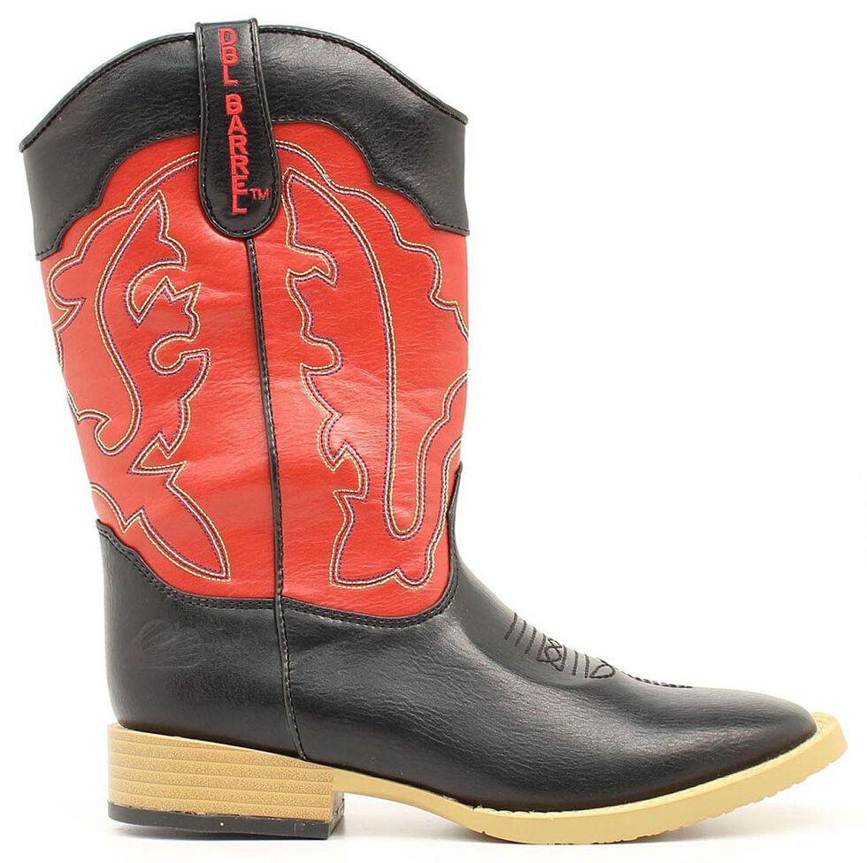 Double Barrel Boys' Trailboss Cowboy Boots - Square Toe, Black, hi-res