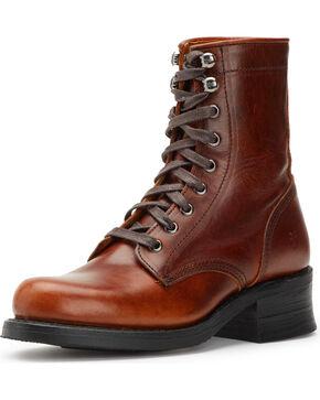 Frye Women's Cognac Engineer Combat Boots , Cognac, hi-res